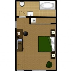 King Standard with Hot Tub - Room Plan